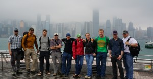 Many of the Everest '13 team in front of the Hong Kong harbor skyline.