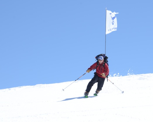 Rob Marshall, on a ski descent of Mt Elbrus, the first climb of the USAF 7 Summits Challenge.