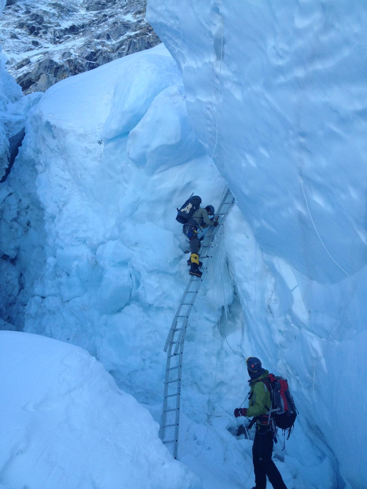 Climbers in the Khumbu Icefall.