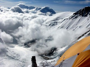 The view from Camp 3, looking back toward Camp 2 and the Khumbu Icefall.  (Photo by Justin Merle, IMG)