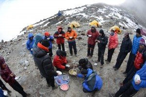 Lunch at Lobuche Advance Base Camp