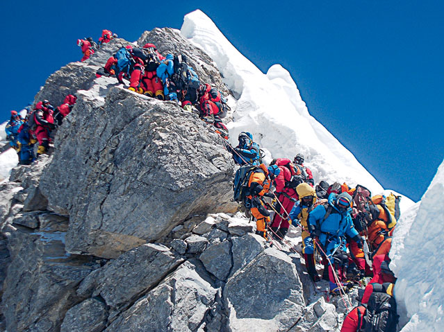 Overcrowding on the Hillary Step in 2012.  Photo from OutsideOnline.