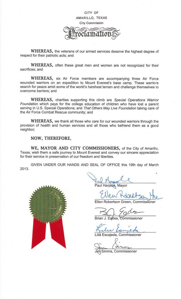 Amarillo Proclamation