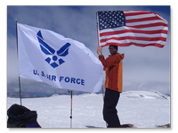 USAF Seven Summits Challenge - US and US Air Force flags